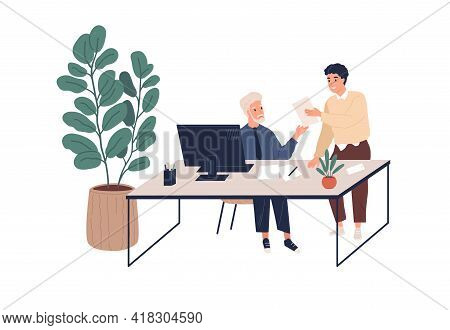 People During Business Communication In Modern Office. Colleagues Working Together With Documents. B
