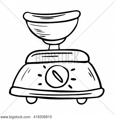 Vector Kitchen Scale With Bowl. Food Processor, Kitchen Gadget Line Icon. Cartoon Illustration Of Do