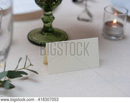 Mockup White Blank Space Card, For Name Place, Folded, Greeting, Invitation On Wedding Table Setting