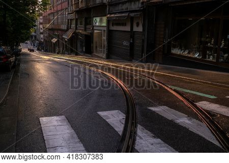 PORTO, PORTUGAL – APR 25, 2021: Empty streets Porto. After many months of quarantine imposed in connection with covid-19 coronavirus pandemic, Portugal is gradually beginning to lift restrictions.