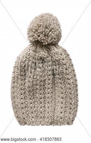 Beige Wool Knit Pom Pom Hat Isolated Over White