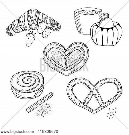 Baking For Breakfast Vector Illustration Hand Drawn Sketch