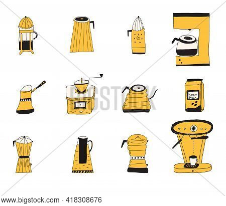 Set Of Hand Drawn Doodle Vector Illustrations Of Various Coffee Pots For Different Brewing Methods.