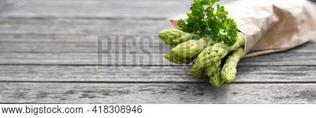 Healthy Green Asparagus And Parsley On Gray Wooden Planks. Fresh Ingredients For A Seasonal Gastrono