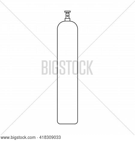Gas Cylinder Vector Outline Icon. Vector Illustration Lpg On Wite Background. Isolated Outline Illus