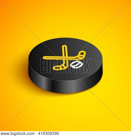 Isometric Line Ice Hockey Sticks And Puck Icon Isolated On Yellow Background. Game Start. Black Circ