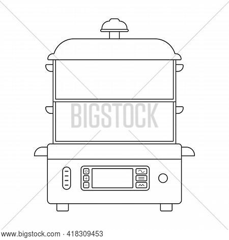 Double Boiler Vector Icon.outline Vector Icon Isolated On White Background Double Boiler.