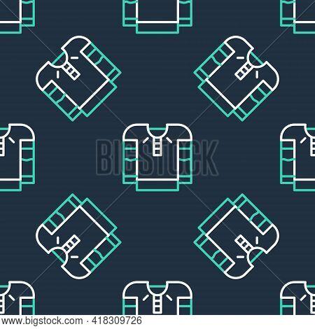 Line Embroidered Shirt Icon Isolated Seamless Pattern On Black Background. National Ukrainian Clothi