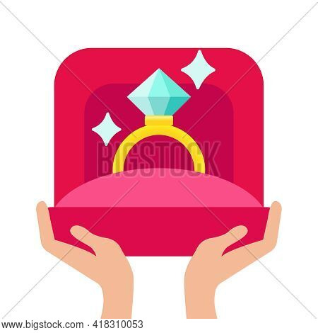 Image Of Wedding Rings In A Gift Box On White Background. Vector Modern Flat Concept Design Featurin