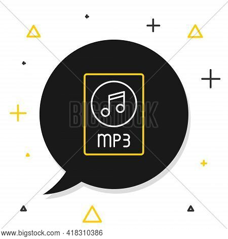 Line Mp3 File Document. Download Mp3 Button Icon Isolated On White Background. Mp3 Music Format Sign