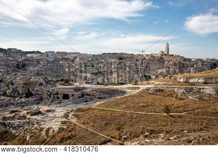 Panoramic View Of Sassi Di Matera A Historic District In The City Of Matera, Well-known For Their An