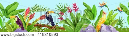 Jungle Seamless Vector Border, Tropical Exotic Background, Toucan, Parrot, Banana Leaves, Flowers, S