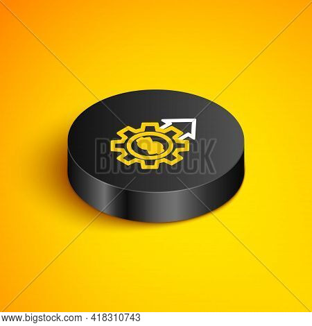 Isometric Line Gear With Dollar Symbol Icon Isolated On Yellow Background. Business And Finance Conc