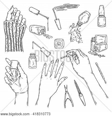 Nail Manicurist Bar Or Saloon Items Set Sketch Vector Illustration Isolated.