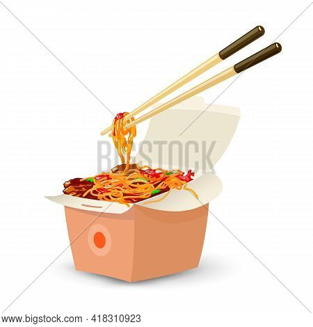 Cartoon Of Cooked Pasta With Added Ingredients, Asian Cuisine. Vector Takeaway, Fast Food, Portion S