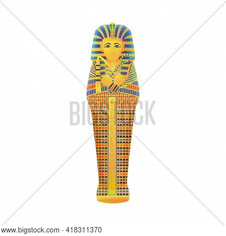 Ancient Sarcophagus Mummy Egyptian Pharaoh For Burial In Chamber Of Tomb.