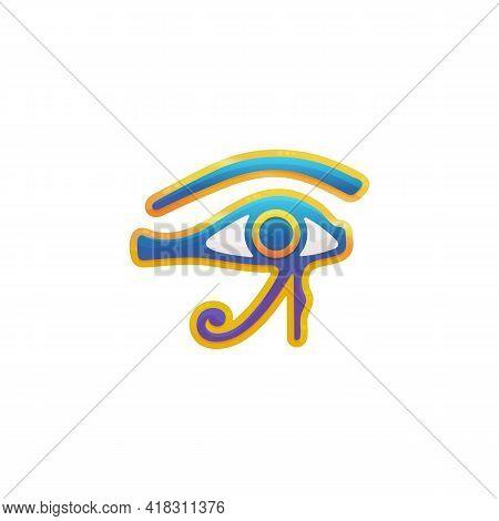 Eye Of Horus All Seeing Eye Egyptian Symbol, Flat Vector Illustration Isolated.