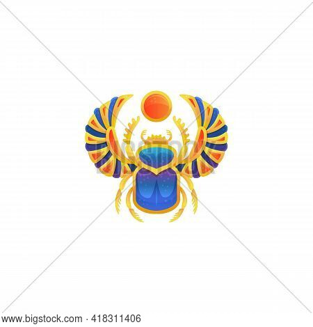 Icon Of Gold Egyptian Scarab With Blue Enamel Flat Vector Illustration Isolated.