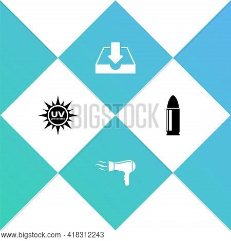 Set Uv Protection, Hair Dryer, Download Inbox And Bullet Icon. Vector