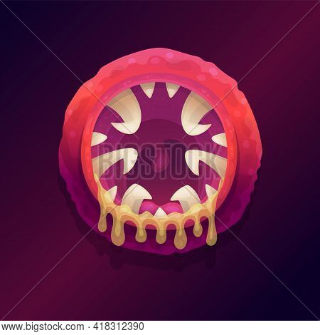 Disgusting Spooky Monster Mouth With Saliva, Flat Vector Illustration Isolated.