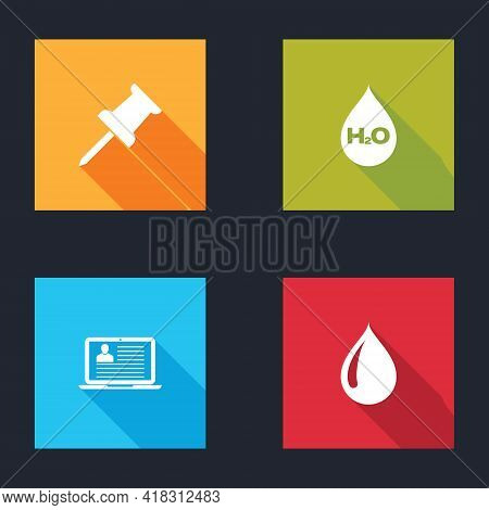Set Push Pin, Water Drop With H2o, Laptop Resume And Icon. Vector