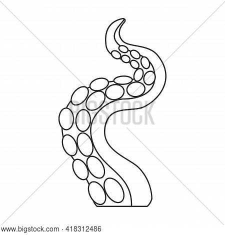 Octopus Tentacle Vector Outline Icon. Vector Illustration Seafood On White Background. Isolated Outl
