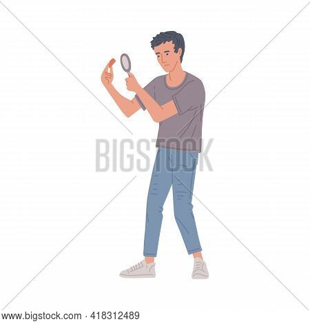 Man With Magnifier Examines Evidence Or Clue Flat Vector Illustration Isolated.