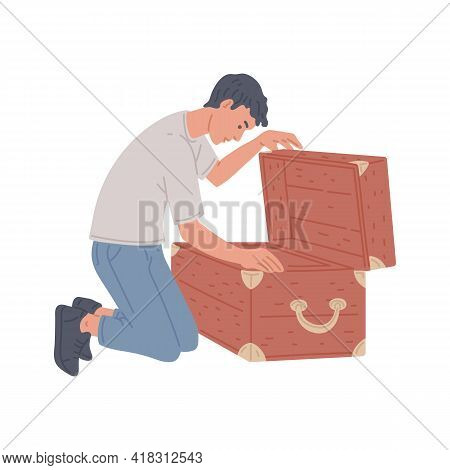 Male Playing Quest Game In Room Escape, Search Of Solve Mystery In Wooden Chest.