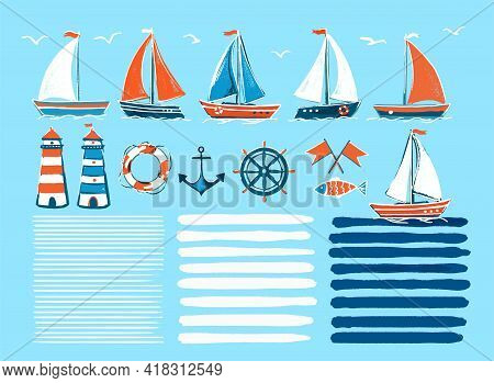 Stylish Marine Cartoon Hand-drawn Set Of Sailboats. Vector Illustration On An Isolated Background -