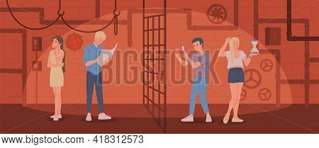 Young People Play Quest Game In Escape Room A Flat Vector Illustration