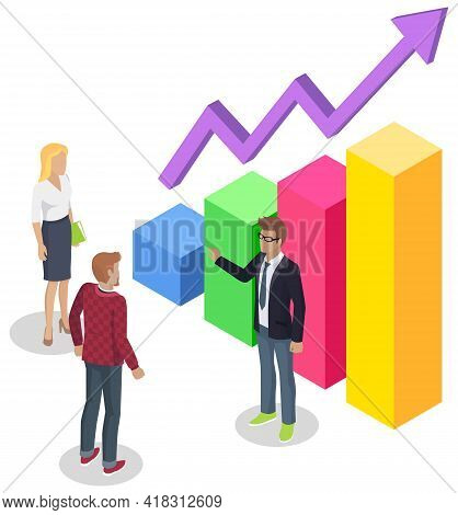 People Study Statistics Shown On Bar Chart. Analyze Diagrams And Charts Concept. Colleagues Working