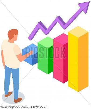 Man Studies Statistics Shown On Bar Chart. Analyze Diagrams And Charts Concept. Guy Is Working With
