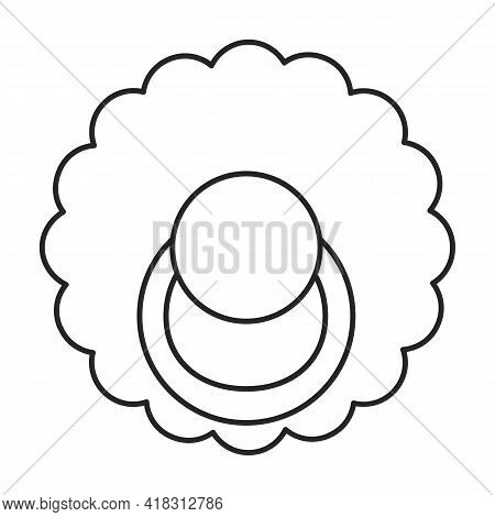 Dummy Pacifier Vector Outline Icon. Vector Illustration Baby Nipple On White Background. Isolated Ou