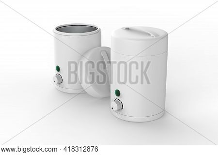 Usb Electric Wax Warmer, Wax Heater On The Wooden Planks Isolated On White Background. 3d Illustrati