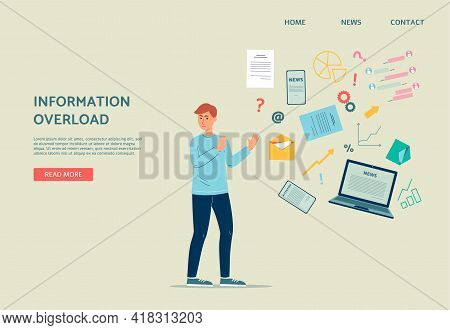 Information Overload Website Banner With Worried Man Flat Vector Illustration.