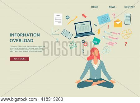 Information Overload Website With Woman In Lotus Pose, Flat Vector Illustration.