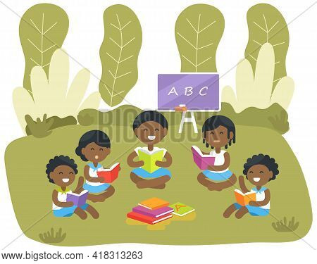 African-american Children Learning Alphabet In Park. Teacher Explains Lesson In Nature. Schoolchildr