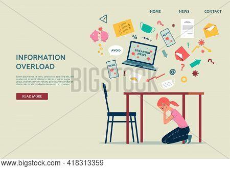 Coronavirus Information Overload Banner, Girl Hiding Under Table