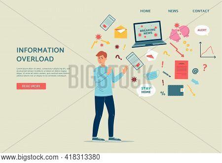 Website On Information Overload With Unpleased Man Flat Vector Illustration.