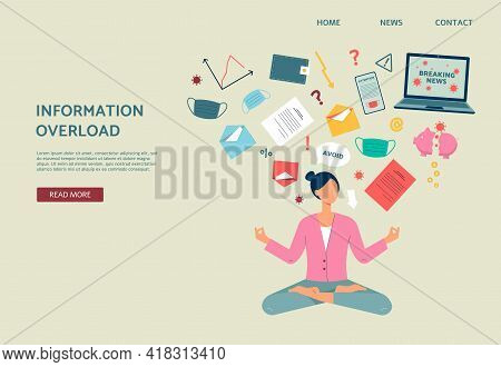 Woman Overload Of Stressed Information Sitting In Lotus Pose Stay Calm