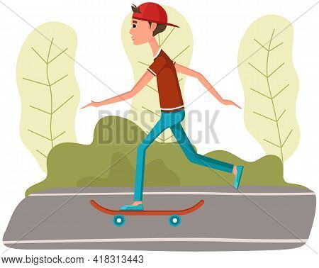 Cool Hipster Man With Skateboard In Park. Young Man, Riding Transport On Road. Urban Citizen Doing S