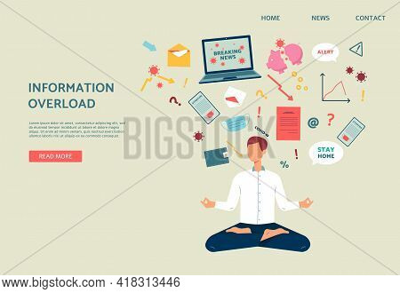 Web Banner With Worried Man Relieves Stress Of News, Flat Vector Illustration.