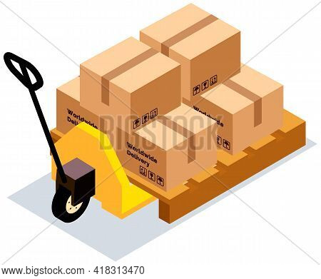Forklift Without Driver Vector Illustration, Carriage Of Cardboard Boxes With Gift Inside. Forklift