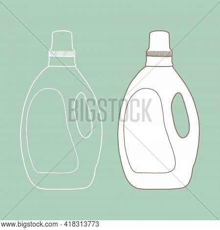 Plastic Bottle Of Washing Liquid Mockup. Vector Illustration Of Package For Liquid. Outline Design I