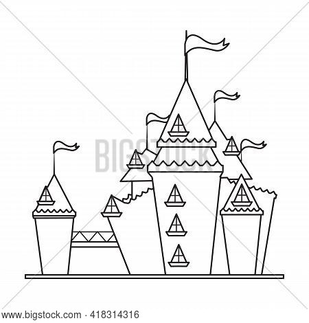 Castle Tower Vector Outline Icon. Vector Illustration Castle Tower On White Background. Isolated Out
