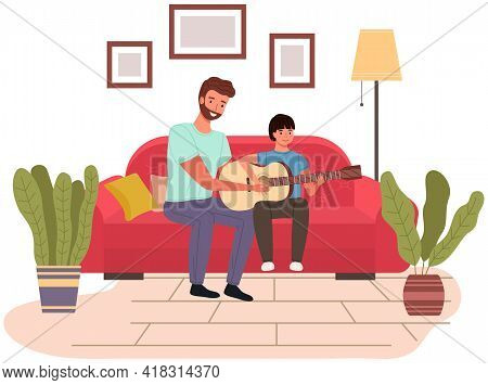 Father Spend Time With His Child. Dad Teaches His Son How To Play Guitar. Parent And Kid Happy Toget