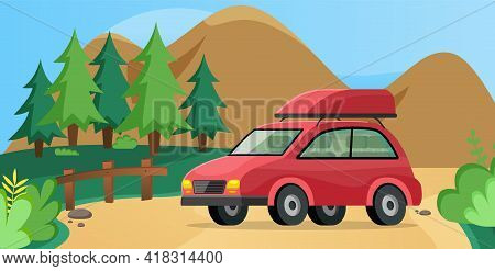 Red Family Car For Driving Into Forest. Transport For Traveling Around World. Travel By Car Concept.
