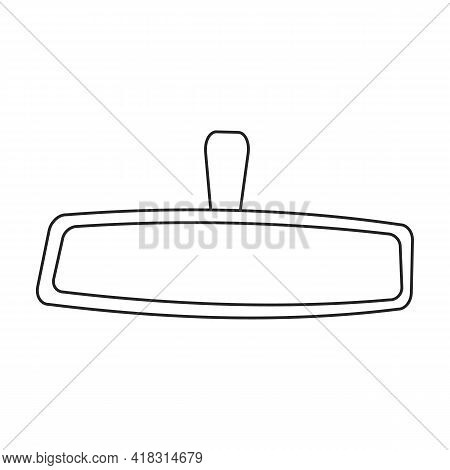 Mirror Rear View Car, Vector Outline Icon. Vector Illustration Auto Rearview On White Background. Is