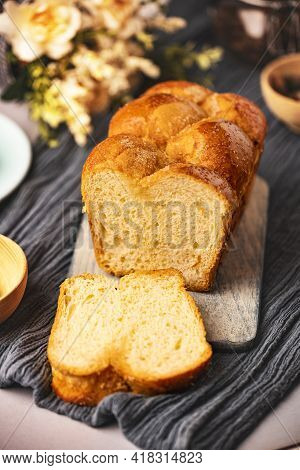 Homemade Baked Braided Brioche Bread Ready To Eat