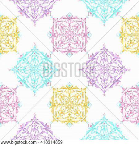 Seamless Mandala Pattern. Colourful Abstract Mandala Background.